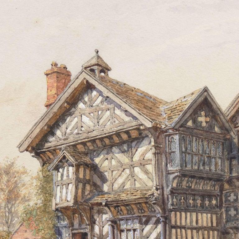 'Little Moreton Hall, Cheshire, England', Tudor Architecture, National Gallery - Beige Landscape Art by Edward Salomons