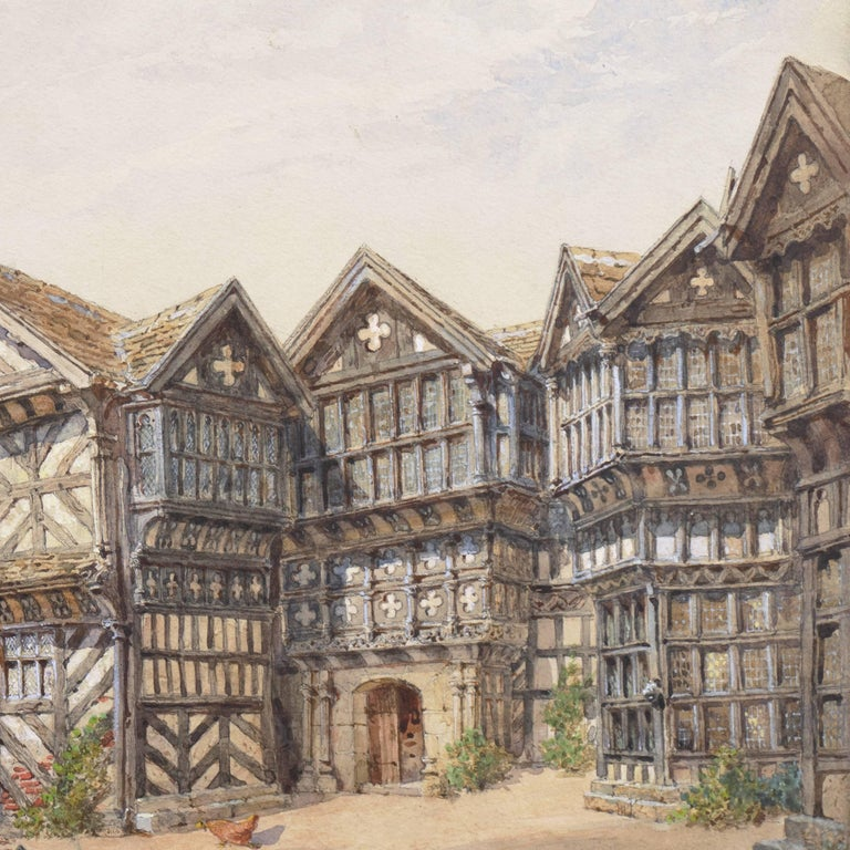 An exceptionally fine study of this landmark Tudor manor house in the English county of Cheshire.   Signed lower right, 'E. Salomons', dated 1900 and titled, 'Moreton Hall'.  Close attention to detail in all aspects of the work by this well-listed