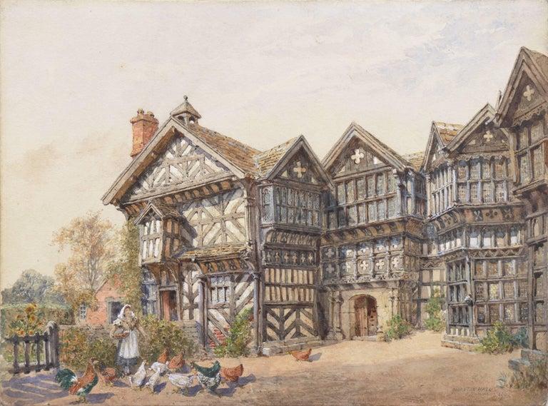 Edward Salomons Landscape Art - 'Little Moreton Hall, Cheshire, England', Tudor Architecture, National Gallery