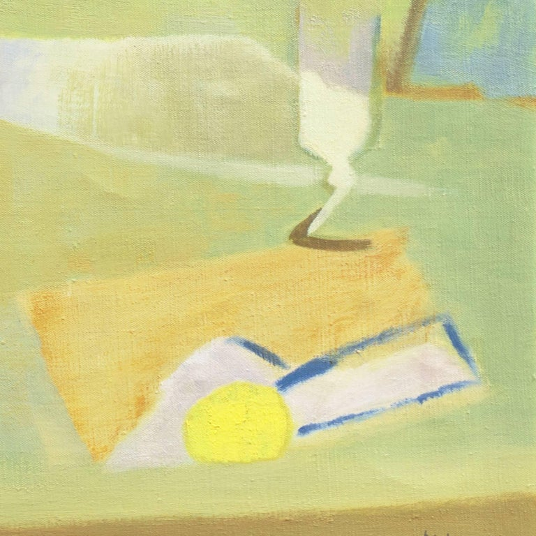 Still Life in Blue and Jade   (French, Fauve, Modernism, Kitchen, Pastel, Green) For Sale 1