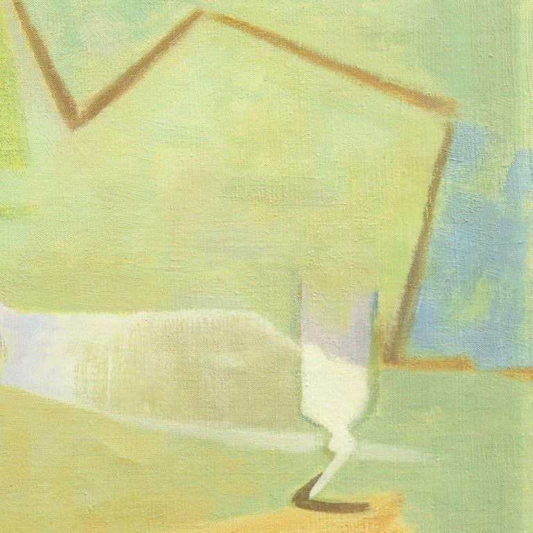 Still Life in Blue and Jade   (French, Fauve, Modernism, Kitchen, Pastel, Green) - Beige Still-Life Painting by Roger Derieux