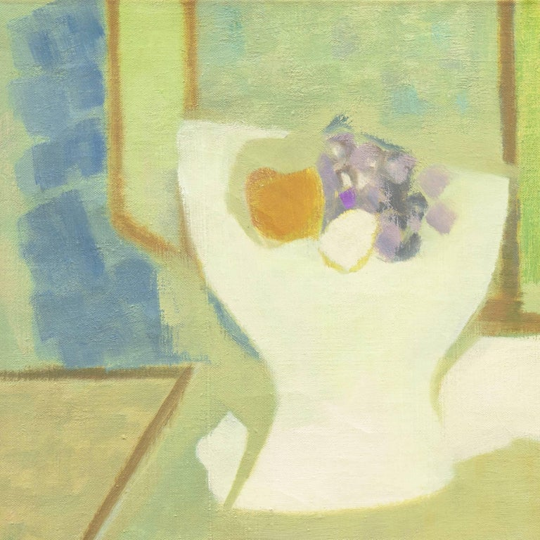 Still Life in Blue and Jade   (French, Fauve, Modernism, Kitchen, Pastel, Green) - Post-Impressionist Painting by Roger Derieux