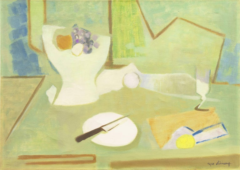 Roger Derieux Still-Life Painting - Still Life in Blue and Jade   (French, Fauve, Modernism, Kitchen, Pastel, Green)