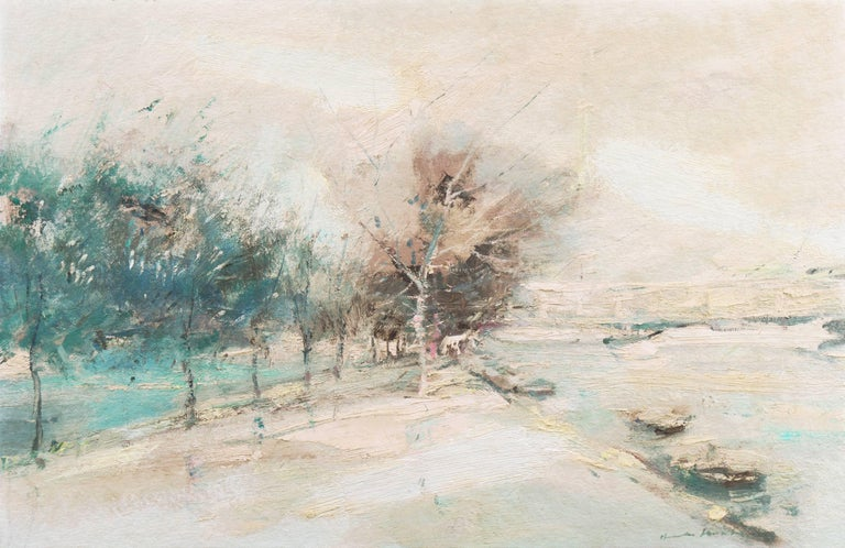 Charles Gordon Harris Landscape Painting - 'The Seine in Winter', School of Paris, Tonalist Snowy Landscape