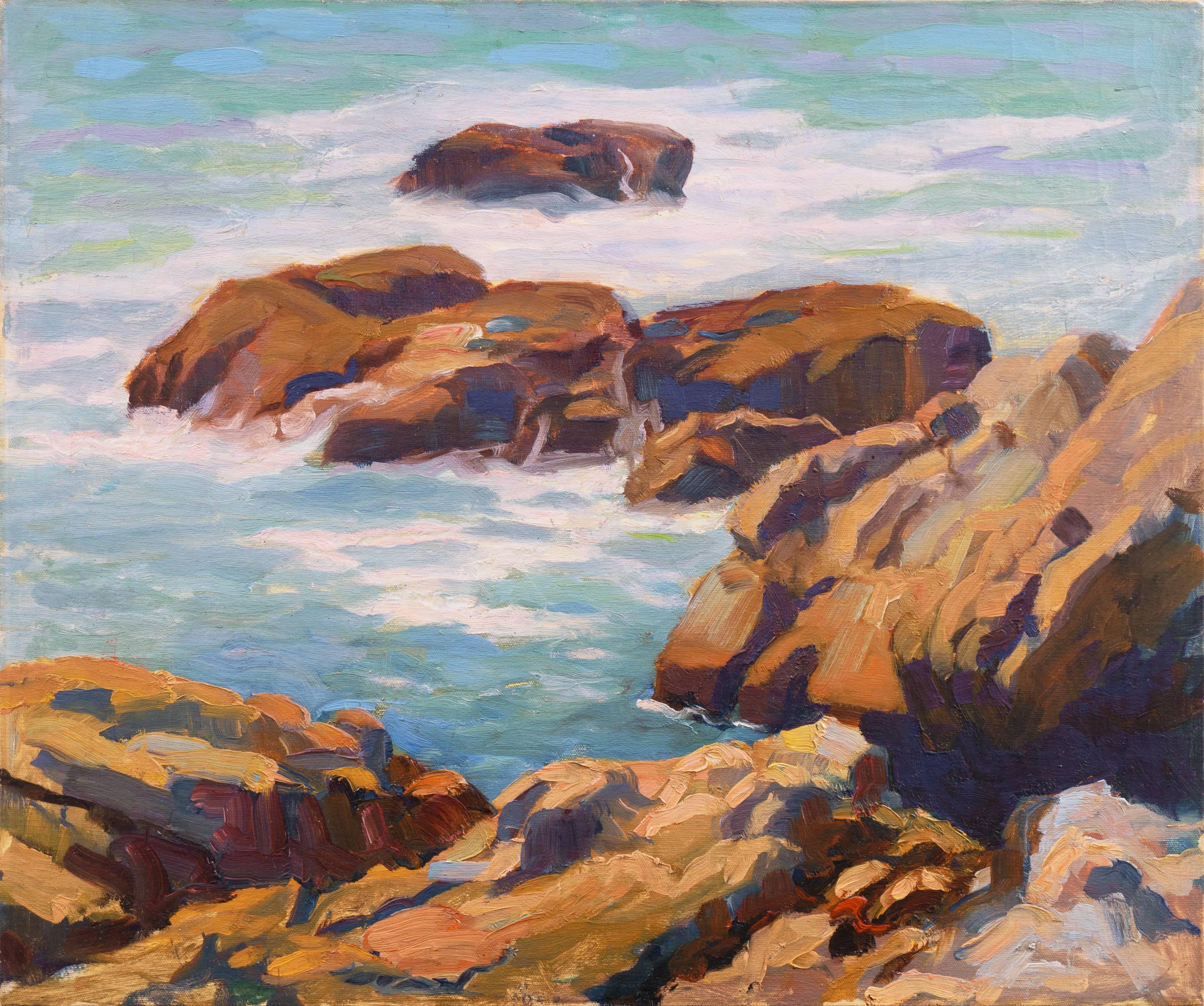'Laguna Beach Coastal View', Plein Air California Impressionist oil