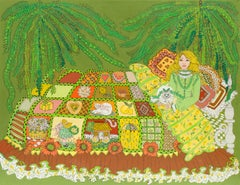 The Quilted Bed   (California, San Francisco, Woman Artist, Modernism, green)