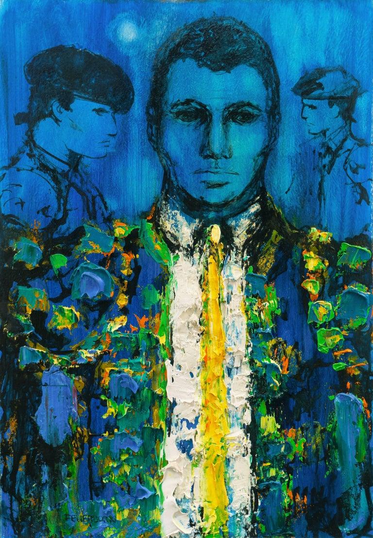 Joseph Henry Feuerborn Figurative Painting - Matador in Blue, 'Suit of Lights'