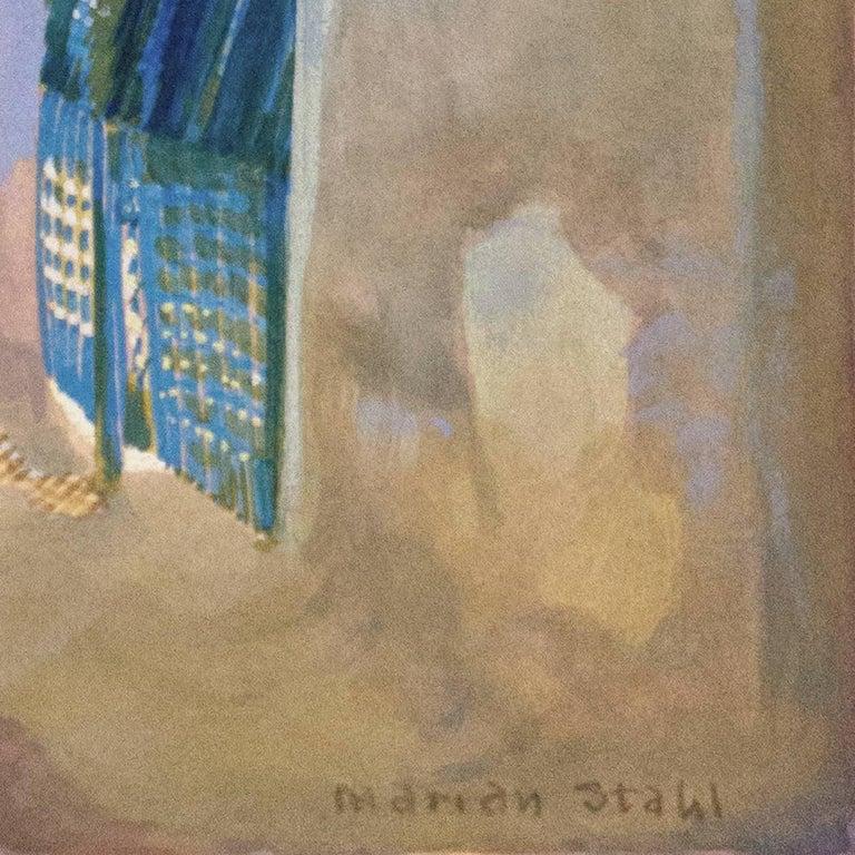 'In the Shade of La Casa Cordova, Tucson', Meyer Street, Arizona - Impressionist Painting by Marian Stahl