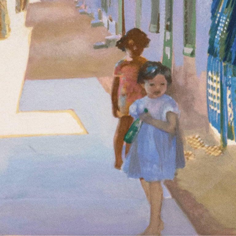 'In the Shade of La Casa Cordova, Tucson', Meyer Street, Arizona - Gray Landscape Painting by Marian Stahl