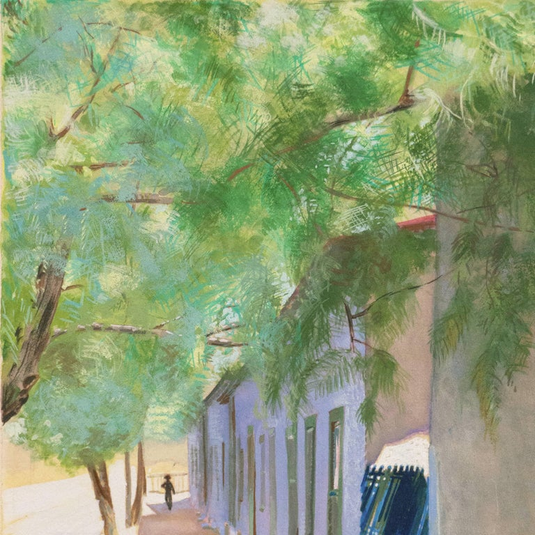 Signed lower right, 'Marian Stahl' (American, 20th century) and painted circa 1960. Inscribed verso, 'Meyer St, Tucson AZ' with artist address.   A finely drawn, mid-century view of old town Tucson in the mid-day sun with two girls standing in the