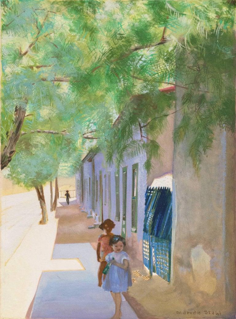 Marian Stahl Landscape Painting - 'In the Shade of La Casa Cordova, Tucson', Meyer Street, Arizona