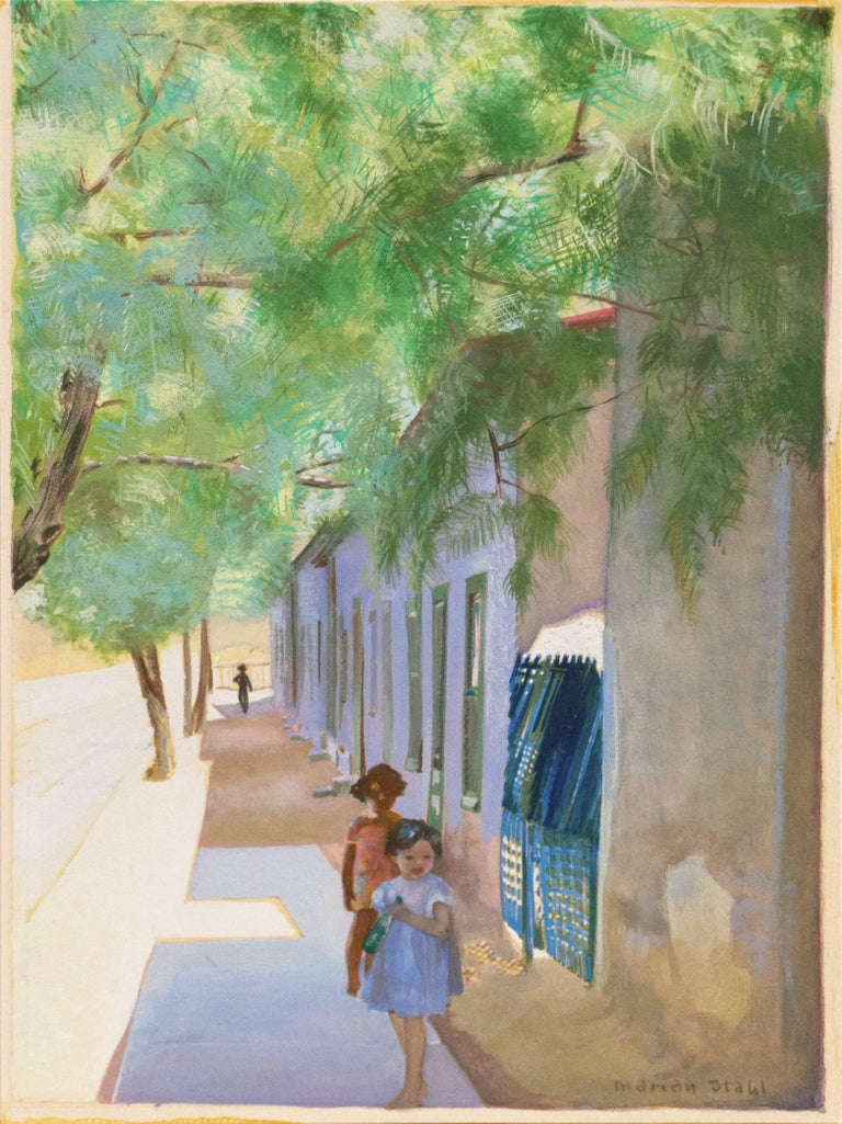 'In the Shade of La Casa Cordova, Tucson', Meyer Street, Arizona - Painting by Marian Stahl