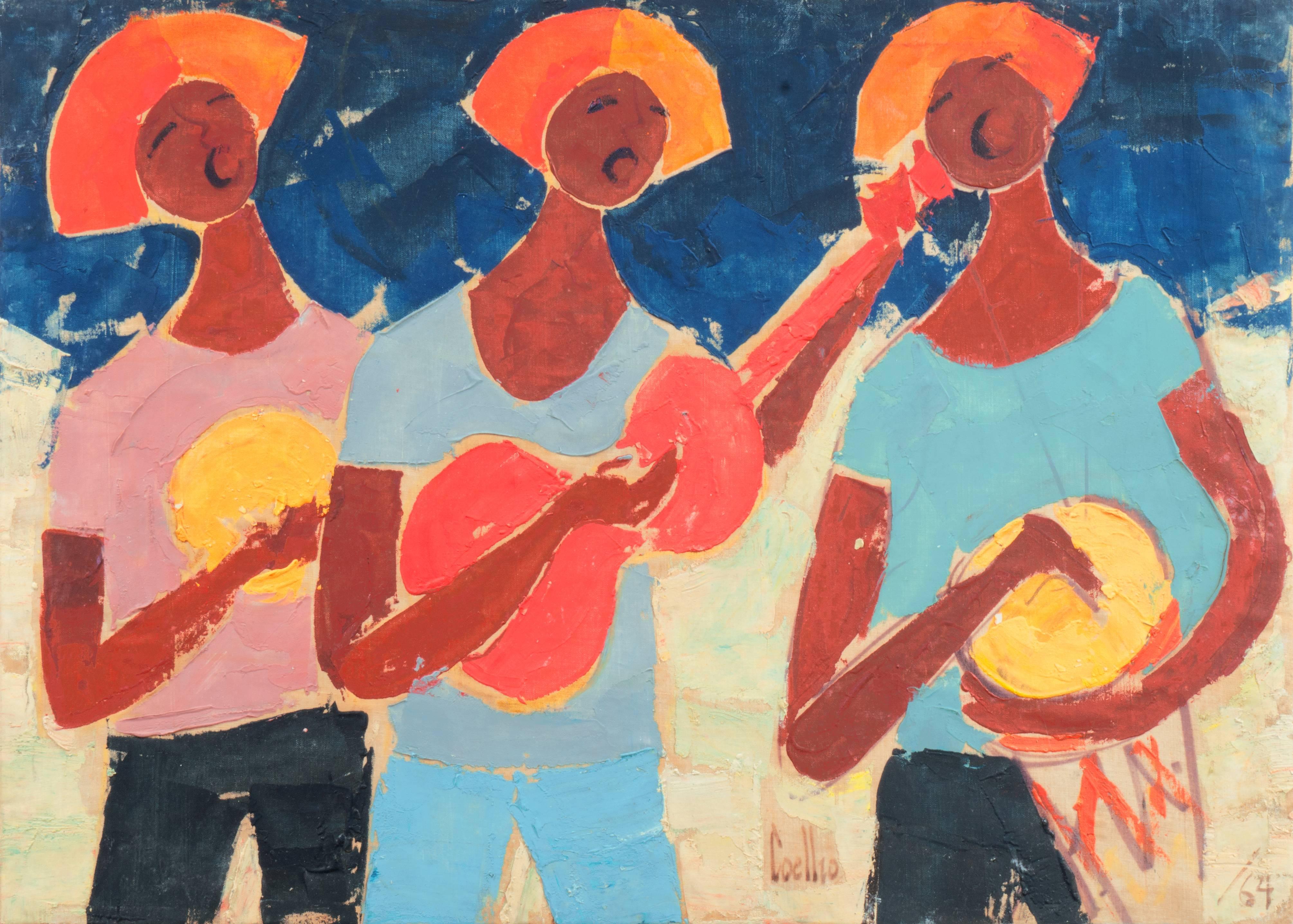 'Carnival Musicians', Brazilian Post-Impressionist Figural, Rio de Janeiro