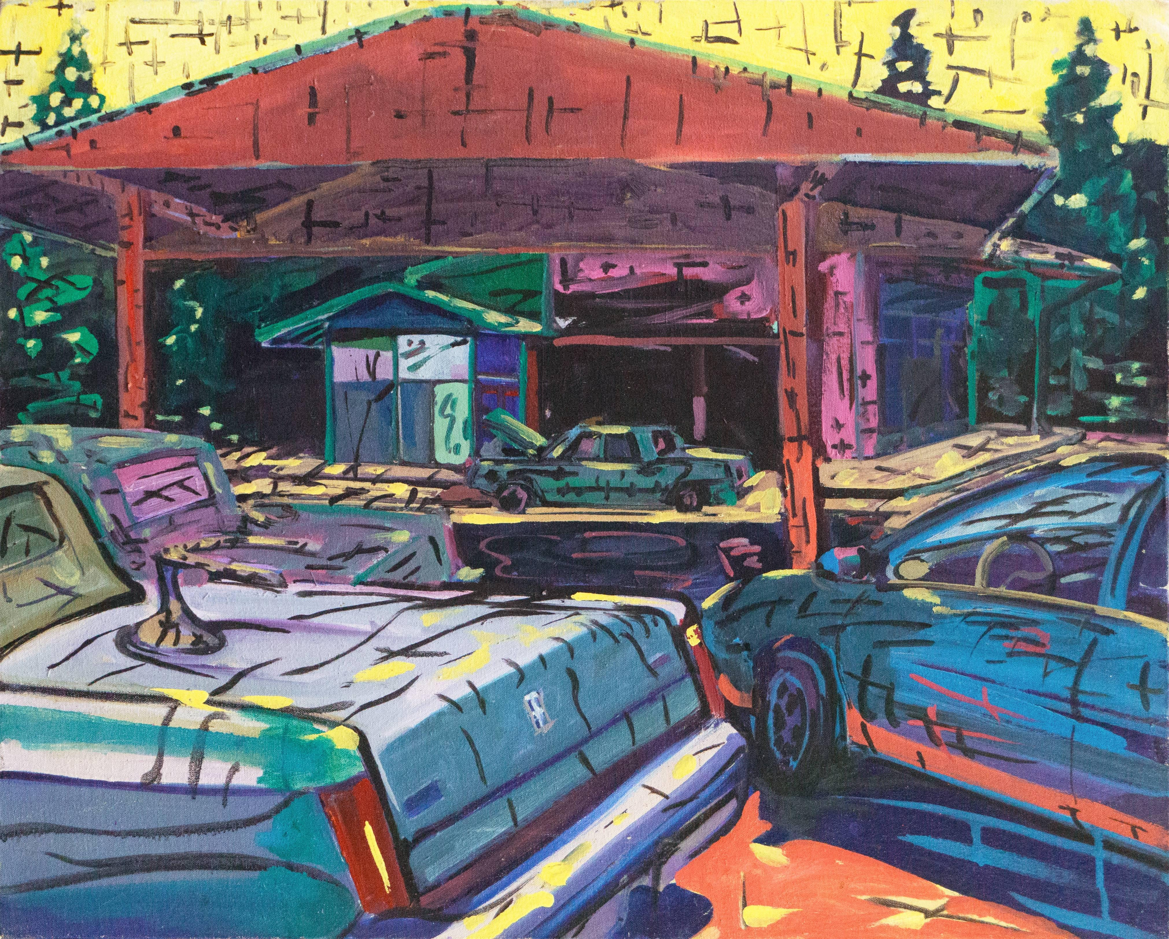 California Modernist oil, 'Diamond Auto Electric'