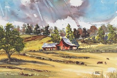 Peaceful Valley   (Rural, Country, Farm, Impressionism, green, blue)