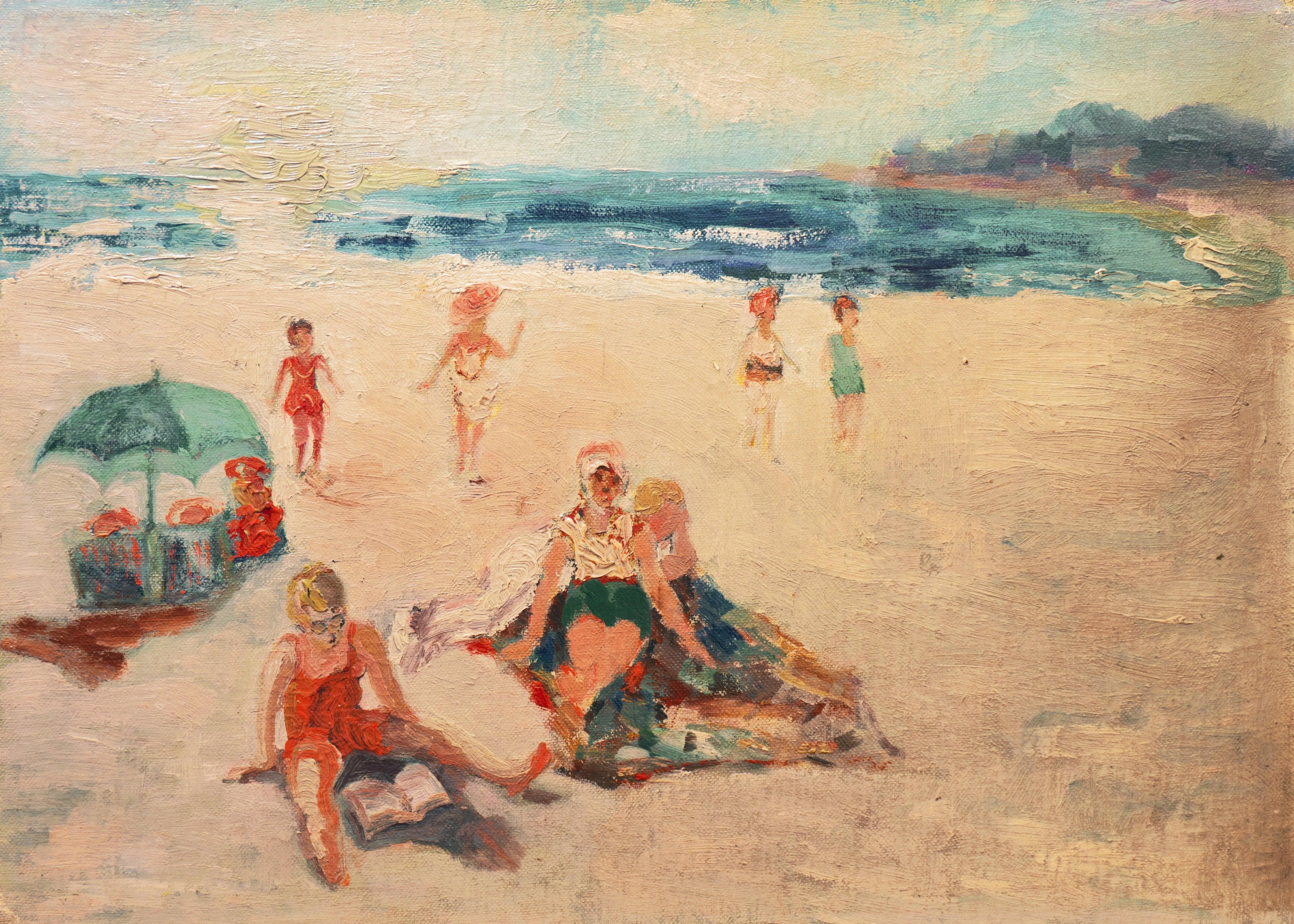 'At the Beach', California Impressionist woman artist, Carmel, Cooper Union