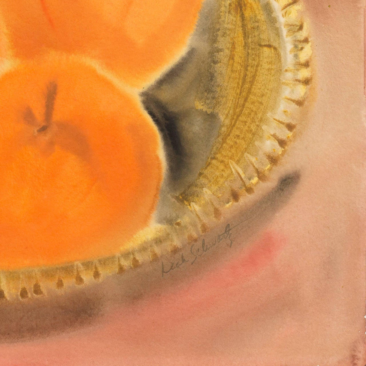 Still Life of Peaches in a Woven Basket by a California Woman Artist For Sale 1