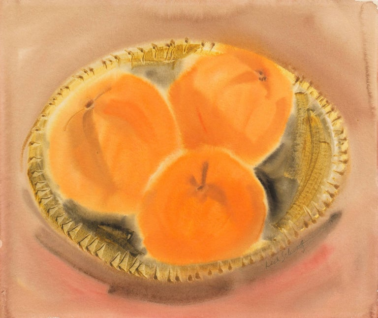 Leah Schwartz Still-Life Painting - Still Life of Peaches in a Woven Basket by a California Woman Artist