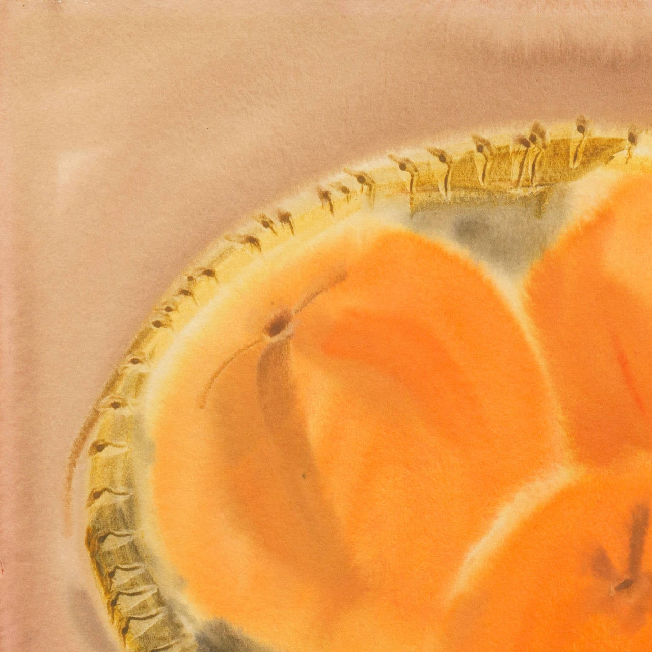 Still Life of Peaches in a Woven Basket by a California Woman Artist - Post-Impressionist Painting by Leah Schwartz