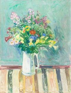 Danish Post-Impressionist Still Life, 'Spring Flowers in a Milk Jug', Bornholm