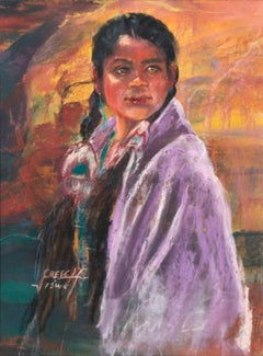 'Portrait of a Young Navajo', Native American, Arizona, California Woman artist