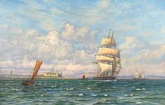 A Three-Master in a Stiff Breeze   (Seascape, Danish, Impressionism, Kronberg)