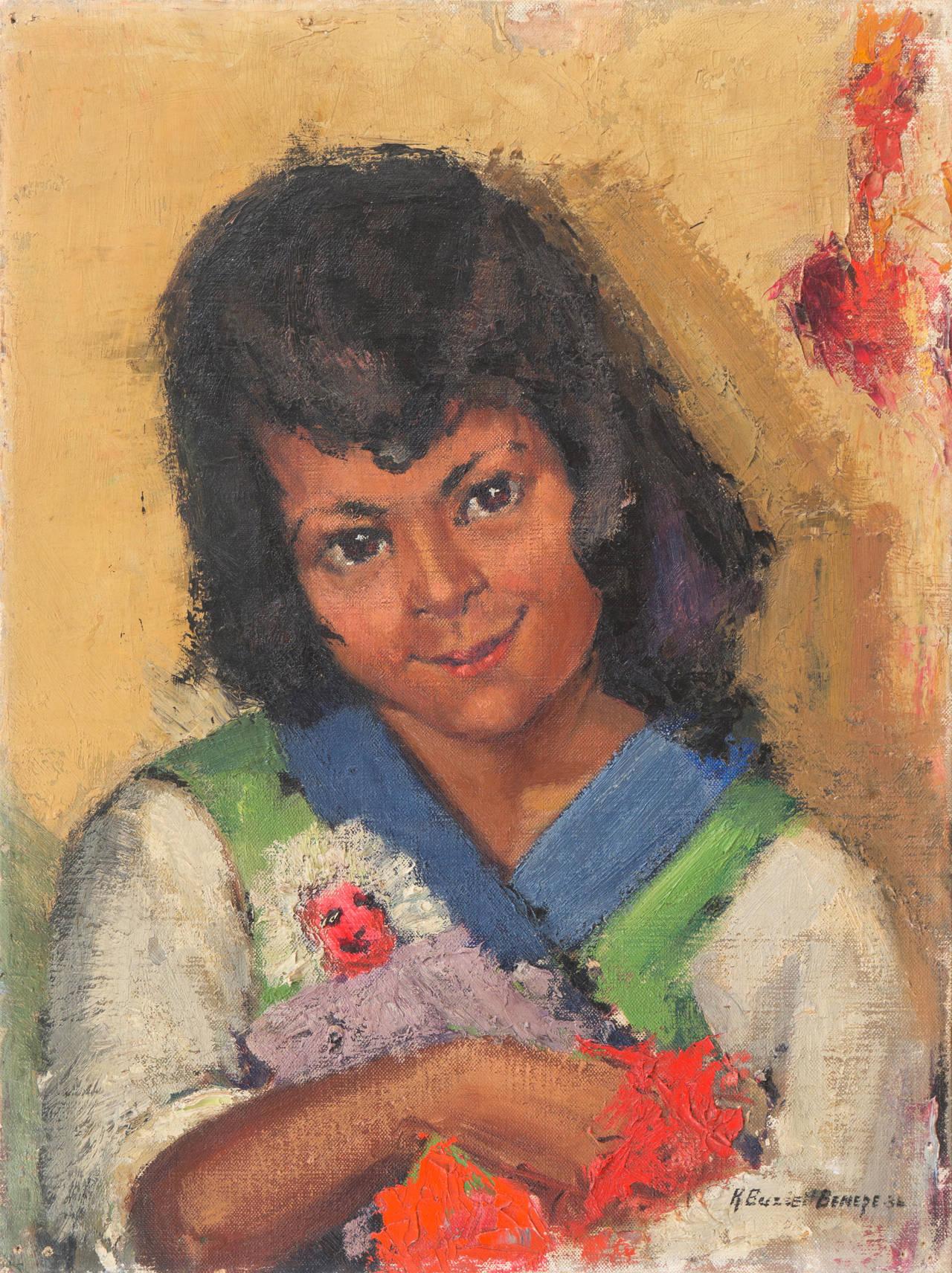 Katharine Buzzell Benepe Portrait Painting - Hopi Girl with Kachina Doll