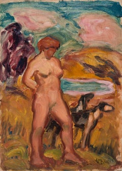 California Post-Impressionist Figural, 'Diana with Hunting Dogs', SFAA Mythical