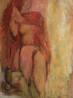 'Woman Standing in Interior', Large, American Post-Impressionist oil