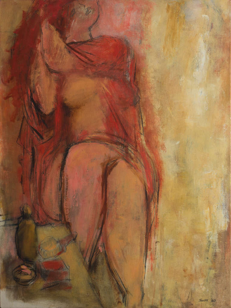 """Signed lower right """"Sears"""" and dated 1960.  A substantial, Expressionist style figural oil showing a partially-draped woman seated at a dressing-table and brushing her hair with an expression of absorbed self-reflection. An eloquent and intuitive"""