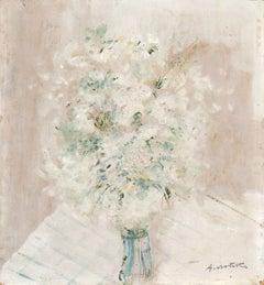 Post-Impressionist oil Still Life, 'Cream and White Flowers', Ivory & Parchment