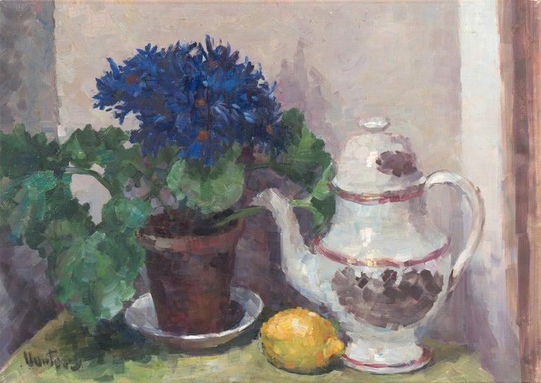 Mogens Erik Christien Vantore Still-Life Painting - 'Still Life of Blue Asters', Paris Salon, Danish Post Impressionist, Benezit