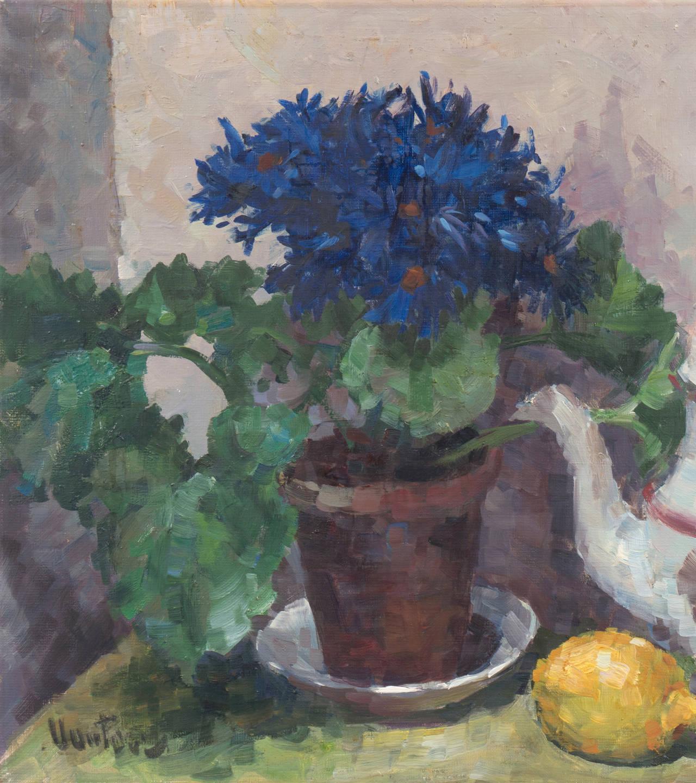 'Still Life of Blue Asters', Paris Salon, Danish Post Impressionist, Benezit - Gray Still-Life Painting by Mogens Erik Christien Vantore
