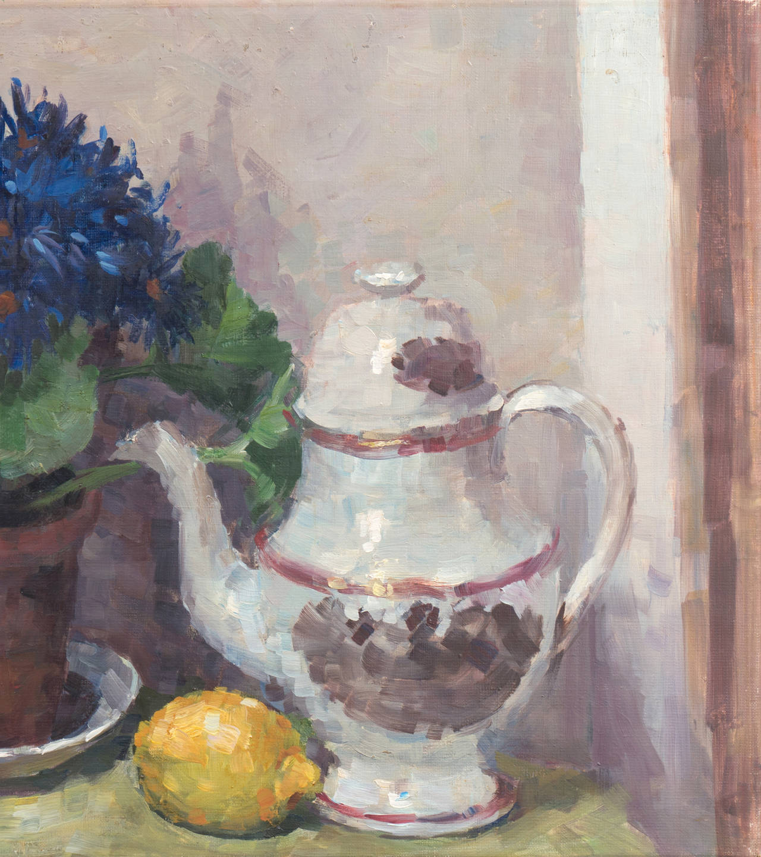 'Still Life of Blue Asters', Paris Salon, Danish Post Impressionist, Benezit For Sale 1