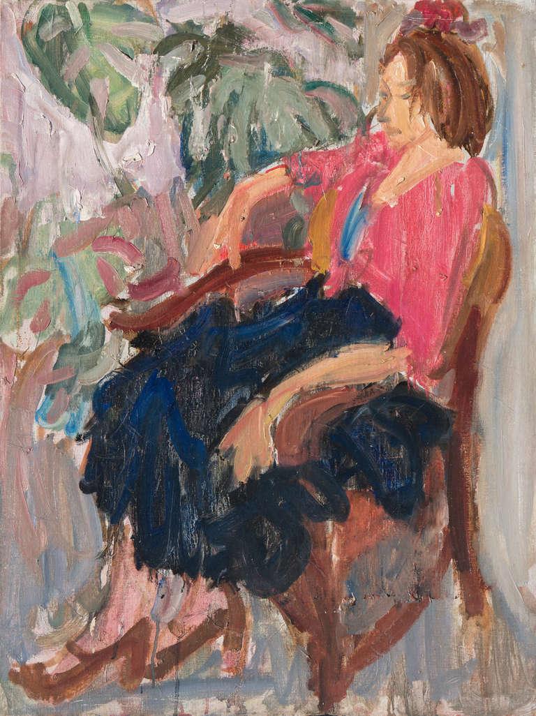 Victor Di Gesu Figurative Painting - California Post-Impressionist 'Woman Seated' Louvre, LACMA, Académie Chaumière