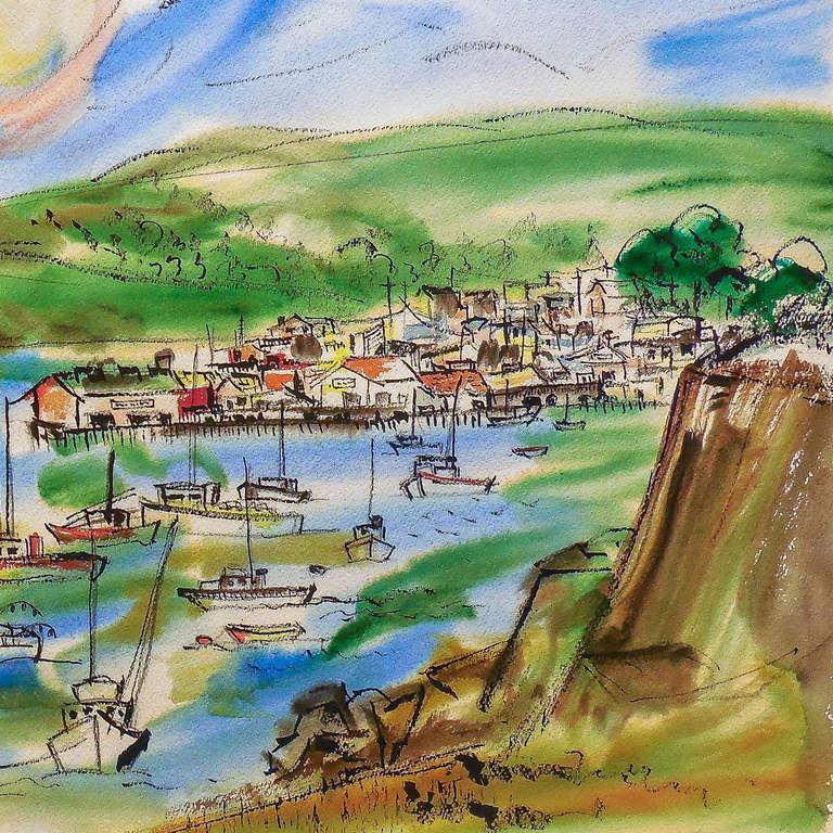 'Northern California Harbor', Marin, San Francisco, California Woman artist - Art by Grace Abbett