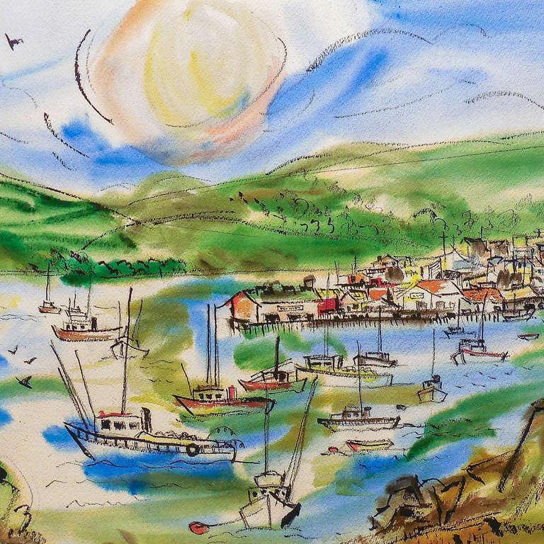 'Northern California Harbor', Marin, San Francisco, California Woman artist - Expressionist Art by Grace Abbett