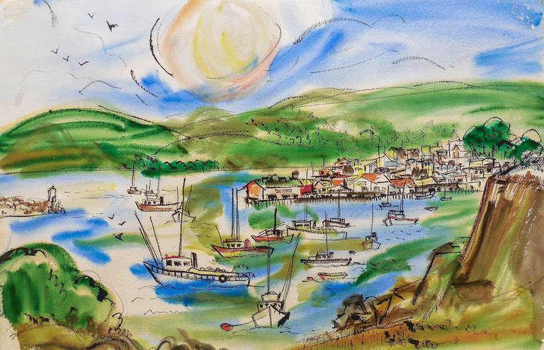 Grace Abbett Landscape Art - 'Northern California Harbor', Marin, San Francisco, California Woman artist