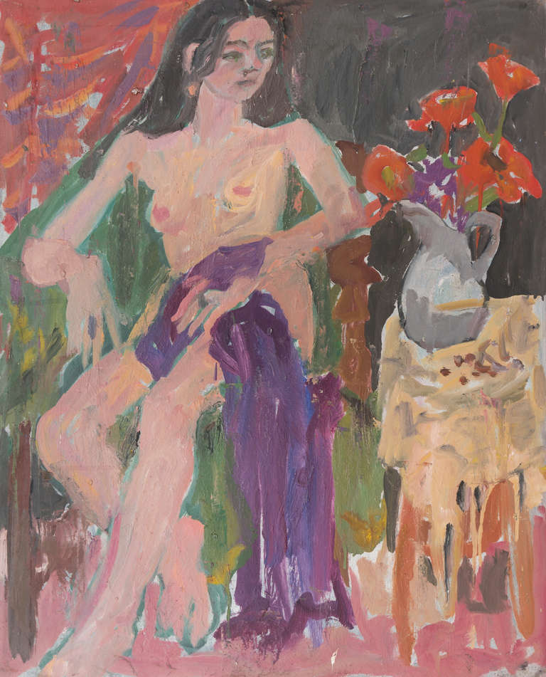 Janet Ament Figurative Painting - 'Seated Nude with Flowers', California Post-Impressionist Woman Artist, Paris