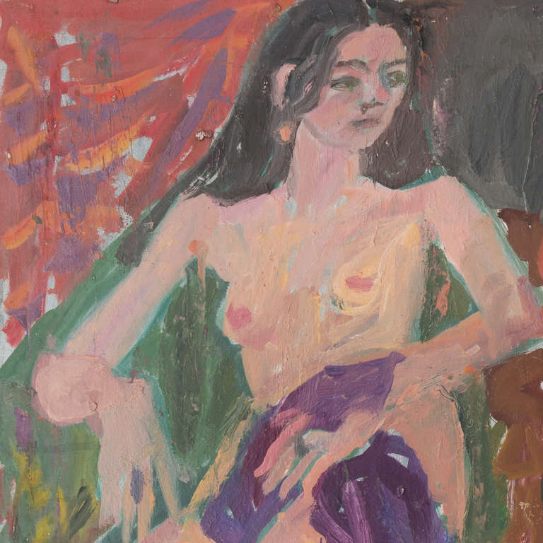 'Seated Nude with Flowers', California Post-Impressionist Woman Artist, Paris - Painting by Janet Ament