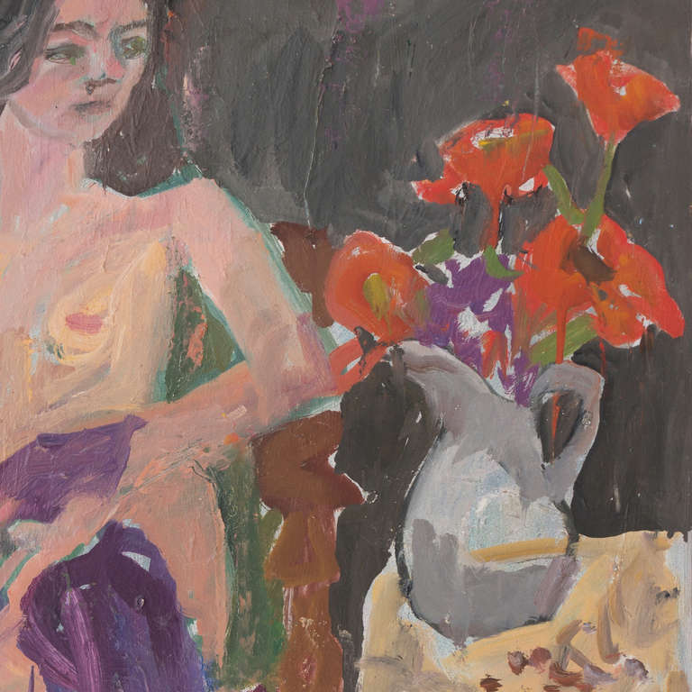 'Seated Nude with Flowers', California Post-Impressionist Woman Artist, Paris - Brown Figurative Painting by Janet Ament