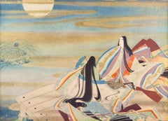 'Picture of the Sky Fountain', Large Japanese Color Woodblock, Kimono