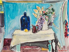 Danish Post-Impressionist oil, 'Still Life with a Blue Bottle'
