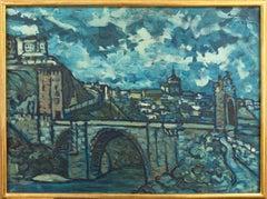 'The Bridge at St. Ursanne, Switzerland', Large Post-Impressionist Landscape