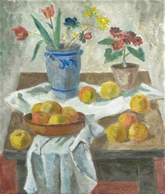 Danish Post-Impressionist Still Life of Flowers and Golden Apples; Art Deco