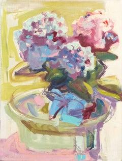 Large California Modernist Still Life, 'Pink and Blue Hydrangeas', Woman Artist