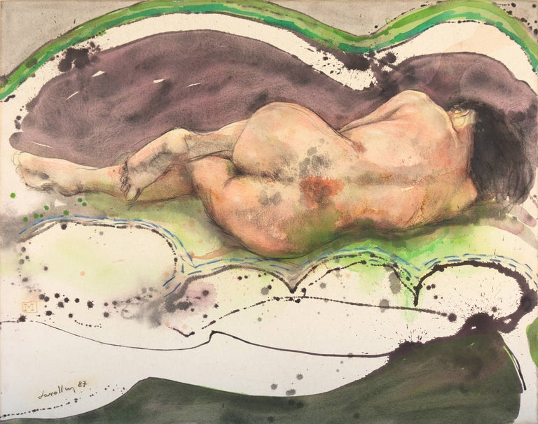 Signed lower left, 'Lavallen', dated 1987 and titled verso 'Mujer Dormida' (Woman Sleeping).  A large figural oil painting of a young woman shown reclining on a sofa.  Julio Lavallen has specialized in painting large-scale works based on the human