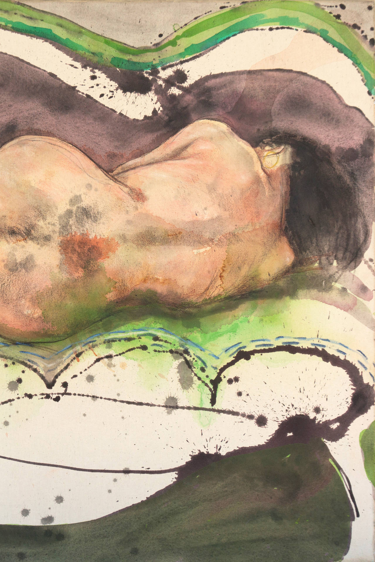Mujer Dormida - Expressionist Painting by Julio Lavallen