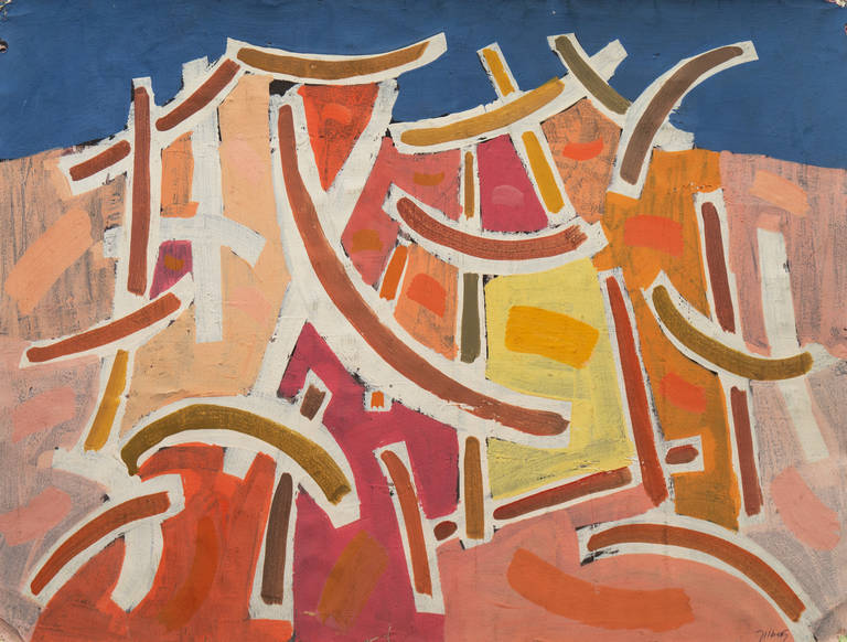 robert george gilberg curvilinear abstract painting for