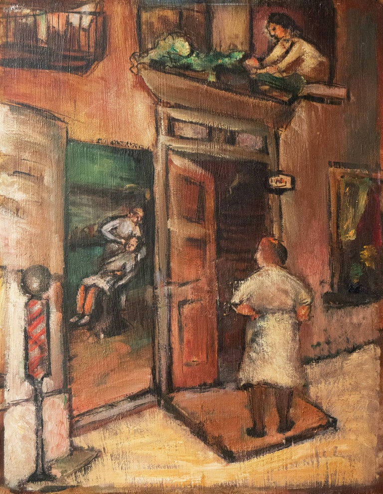 Unsigned; accompanied by a certificate of authenticity, and painted circa 1950.  An atmospheric mid-century oil showing a city street scene with a view into a barber's shop  and a customer receiving a shave. A figure stands waiting outside while,